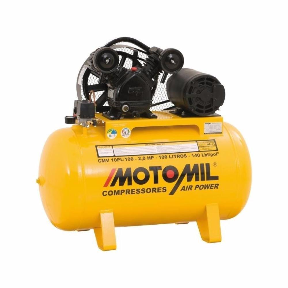 Compressor de Ar Profissional 2 HP 100 Litros Motomil CMV10PL/100E