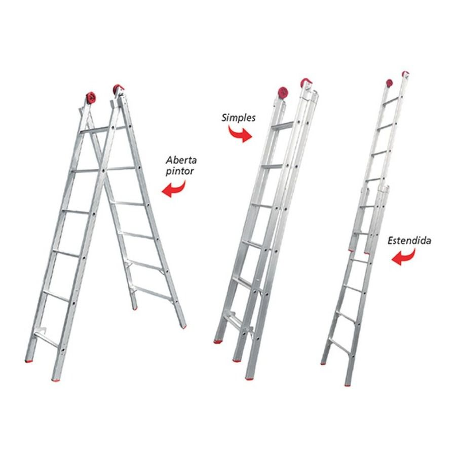 Escada de Alumínio Extensível Dupla 2X6 12 Degraus - Worker