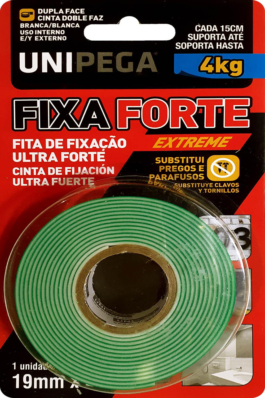 Fita Dupla Face Fixa Forte Extreme 19mm X 2M Até 4kg Unipega