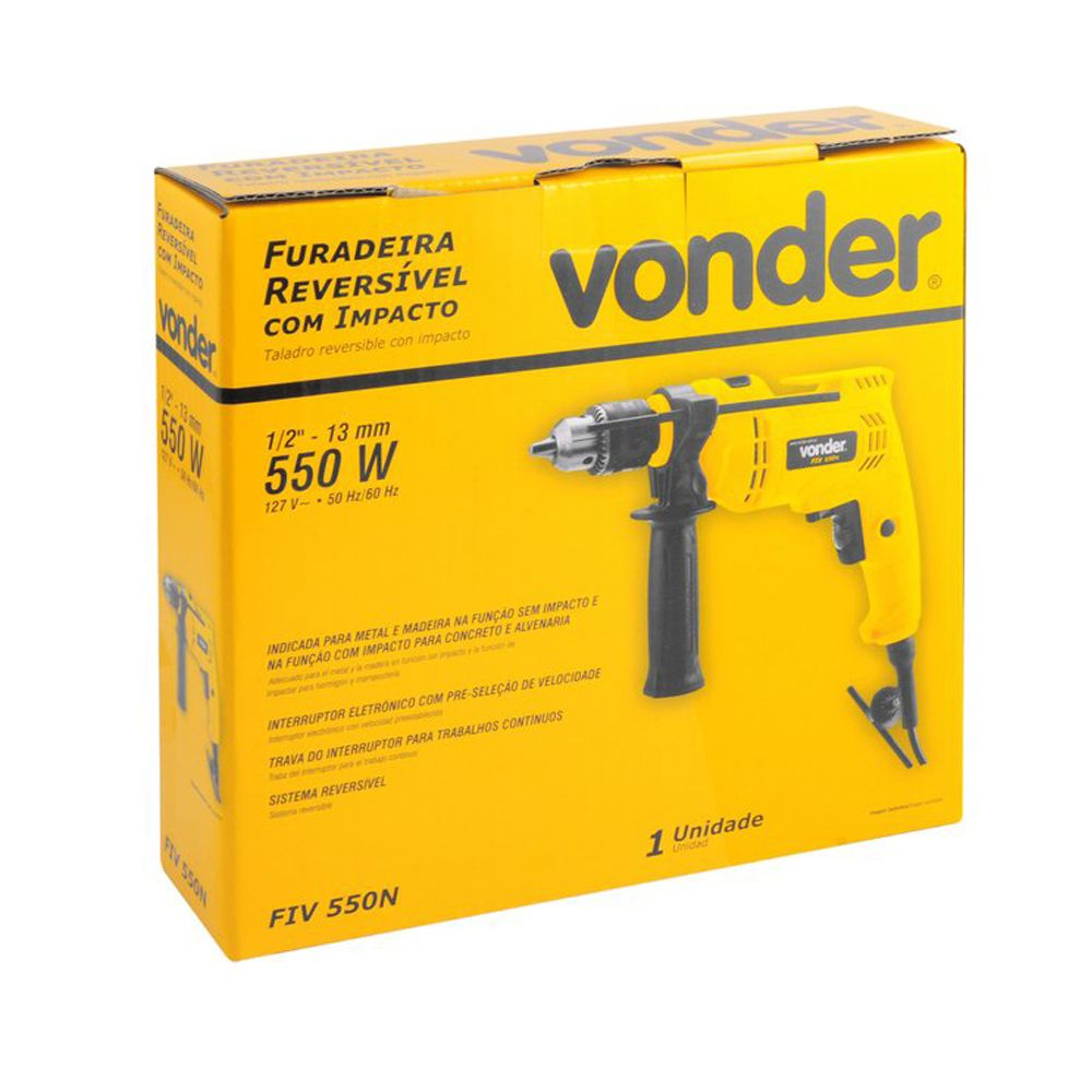 Furadeira e Parafusadeira 500W Profissional 13MM Vonder