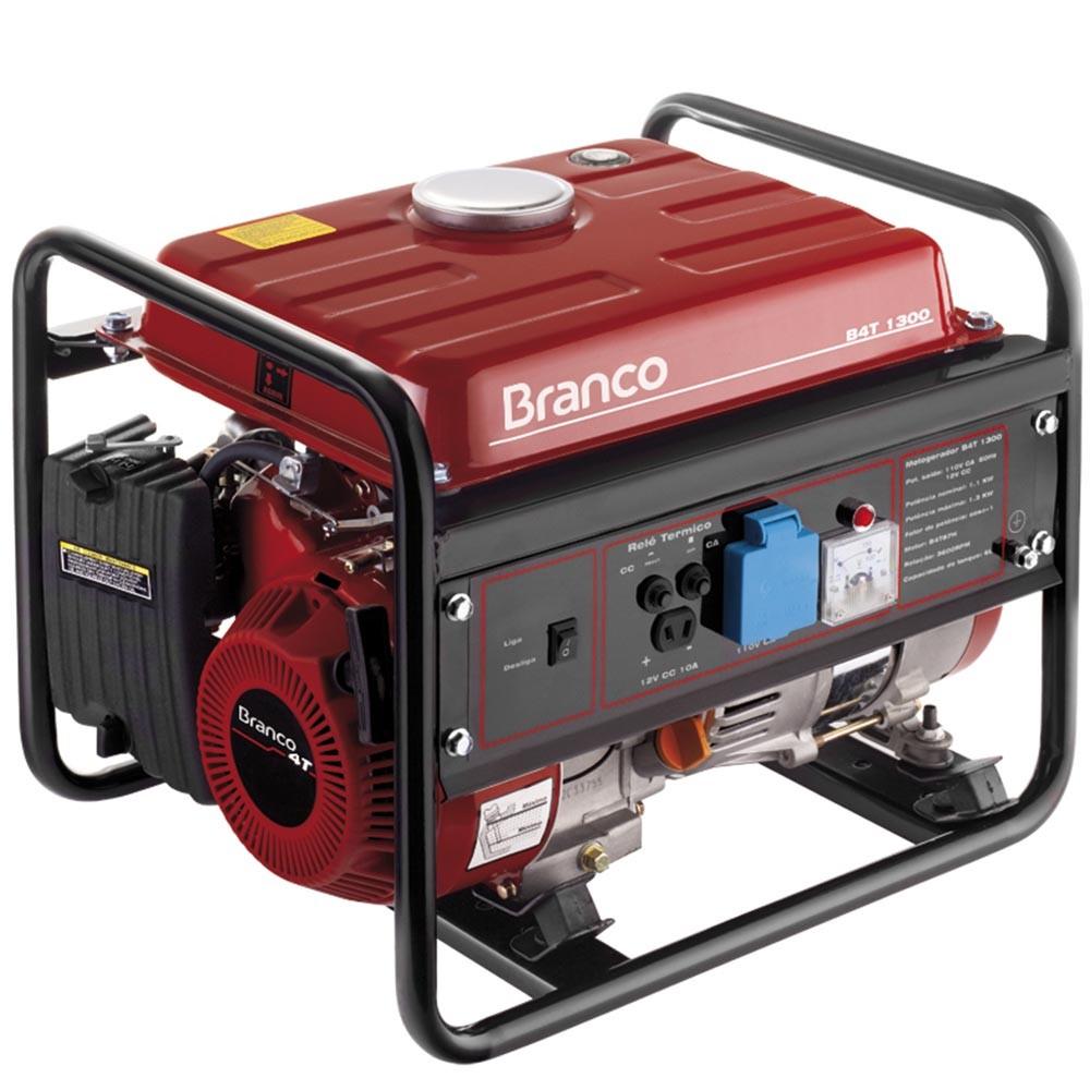 Gerador 1.1 KVA Monofásico a Gasolina 2.8 HP B4T-1300 Branco