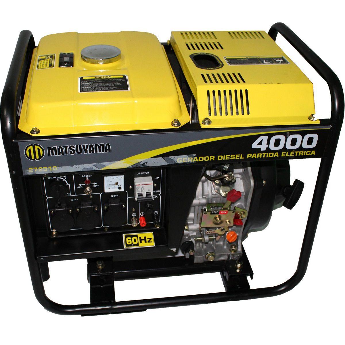 Gerador 4000 Diesel Monofásico Partida Elétrica Matsuyama