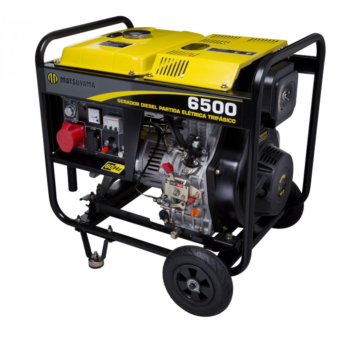Gerador 6500 Diesel Trifásico 220V Partida Elétrica Matsuyama