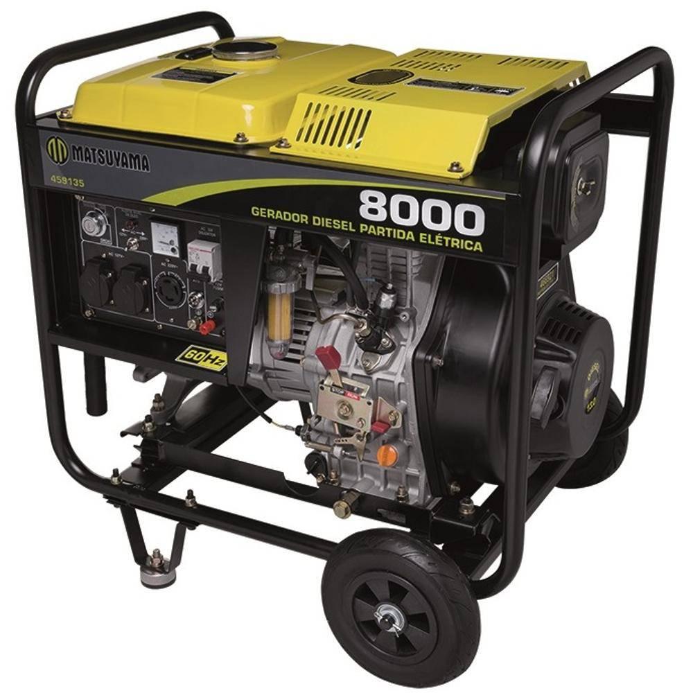 Gerador 8000 Diesel Bifásico 127/220V 13 HP Partida Elétrica Matsuyama
