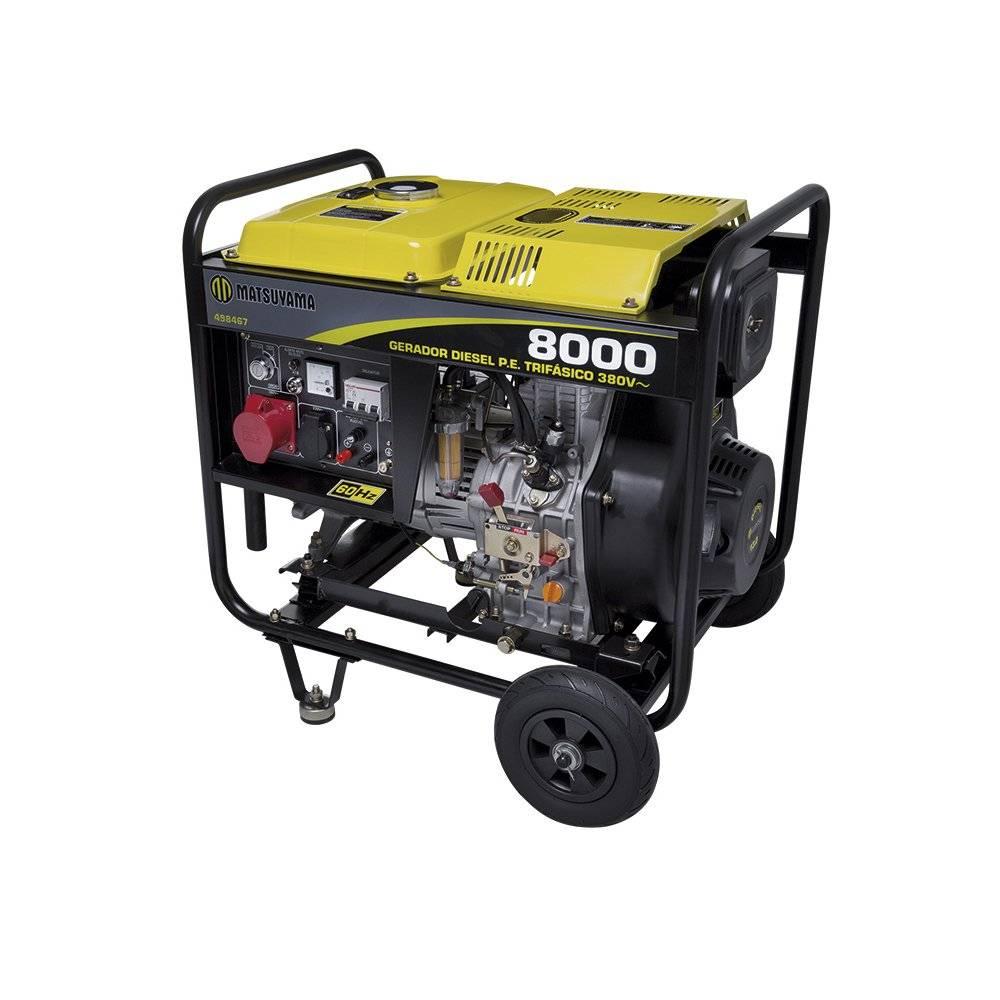 Gerador 8000 Diesel Trifásico 220V 13 HP Partida Elétrica Matsuyama