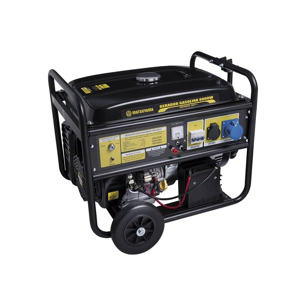 Gerador 8000 a Gasolina Partida Elétrica Trifásico 380V Matsuyama