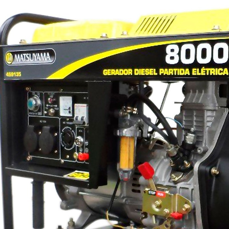 Gerador 8000 Diesel Trifásico 220V Partida Elétrica Matsuyama