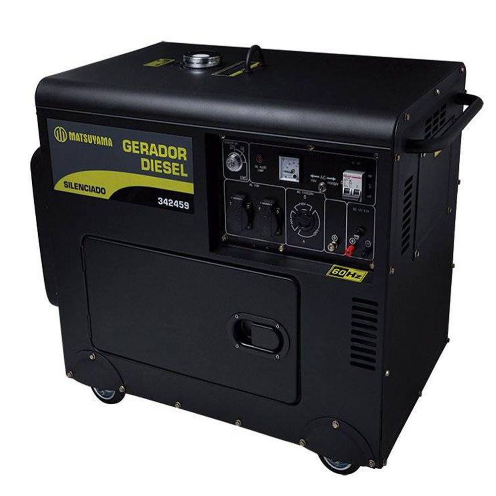 Gerador Diesel Bifásico 110/220V  Silenciado Cabinado 6500w Matsuyama