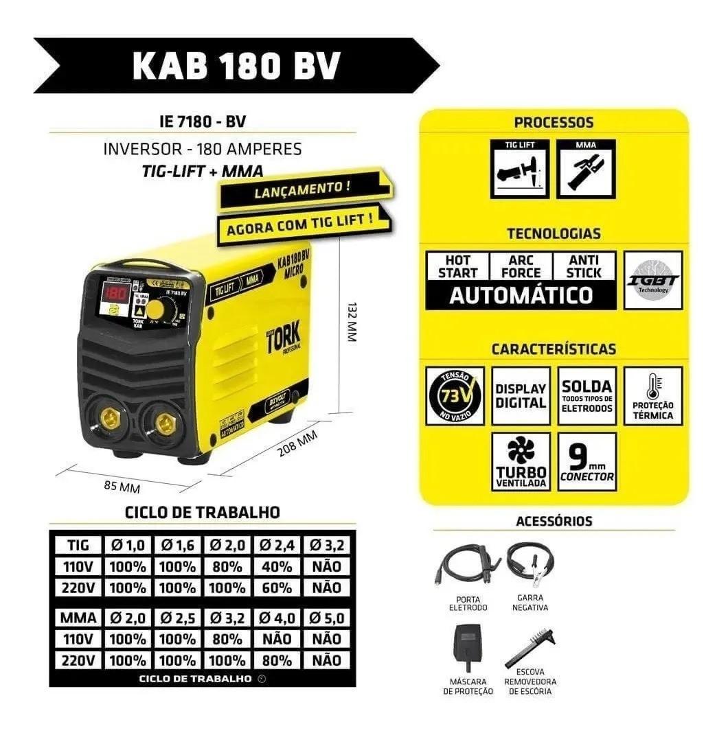 Inversor Solda 180A Bivolt 127/220V Solda Aluminio Inox Tork