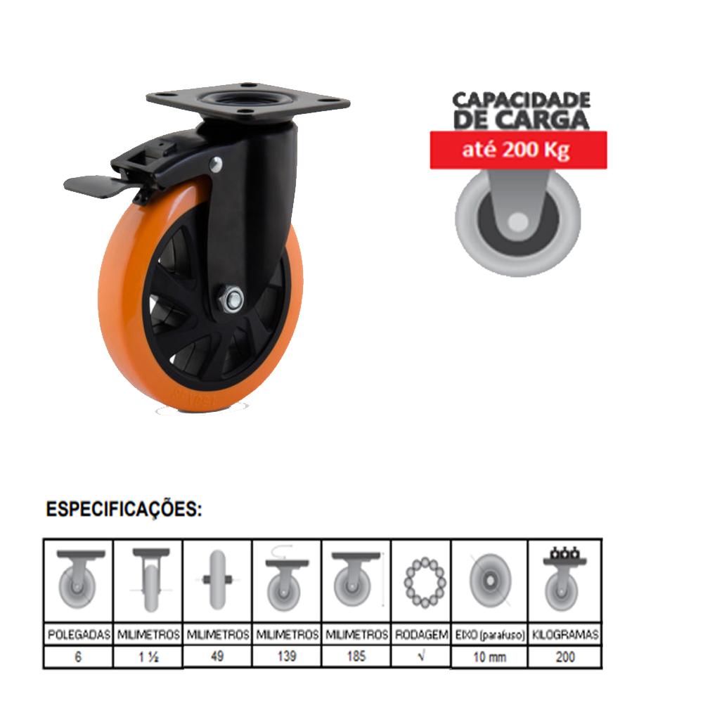 it Rodízio Giratório com Freio 4801 800Kg Paraf.10'' Colson