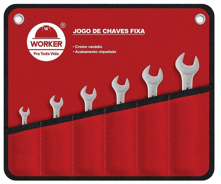 Jogo de Chave Fixa Cromo Vanádio 6 a 32MM 12 Peças Worker