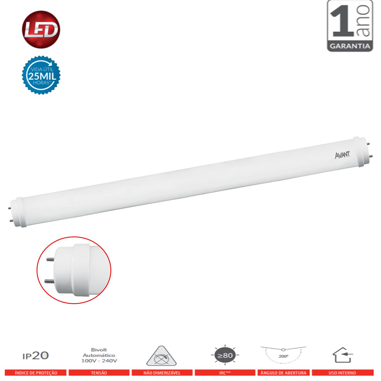 Kit 10 Lâmpada Led Branco Frio 18W Tubular 120cm Comércio