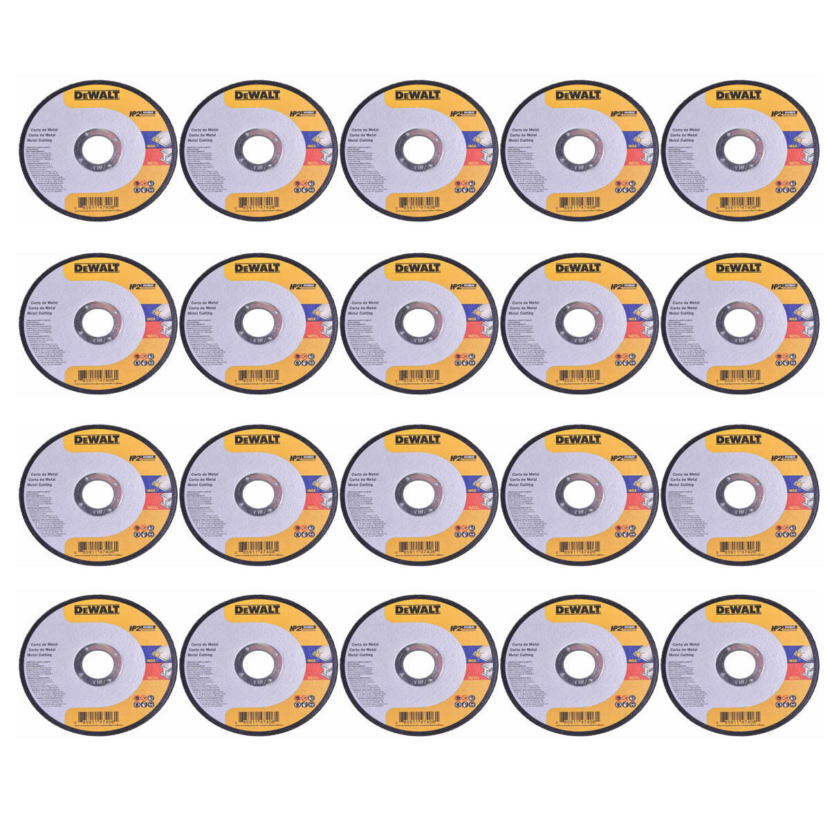 Kit 20 Disco de Corte Inox HP2 4.1/4 x 1MM x 7/8''  Dewalt