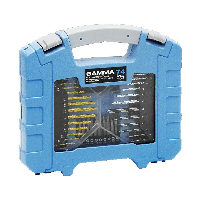 Kit para Furadeira e Parafusadeira  74 Peças G19515AC Gamma