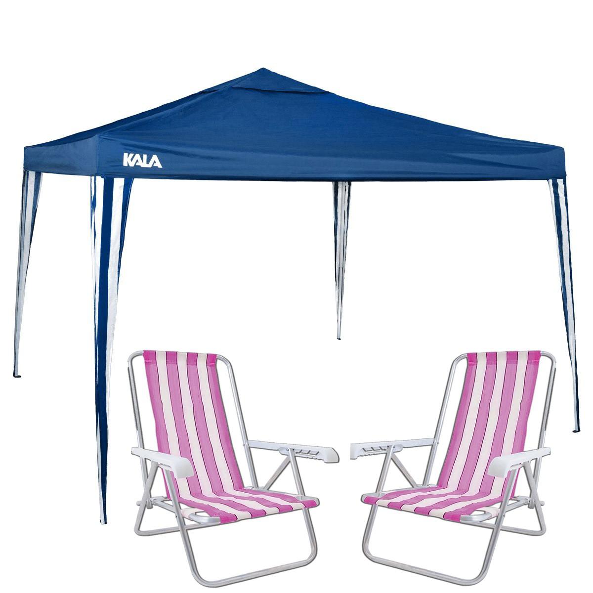 Kit Verão Gazebo Tenda 3x3 Articulado Com 2 Cadeiras Praia