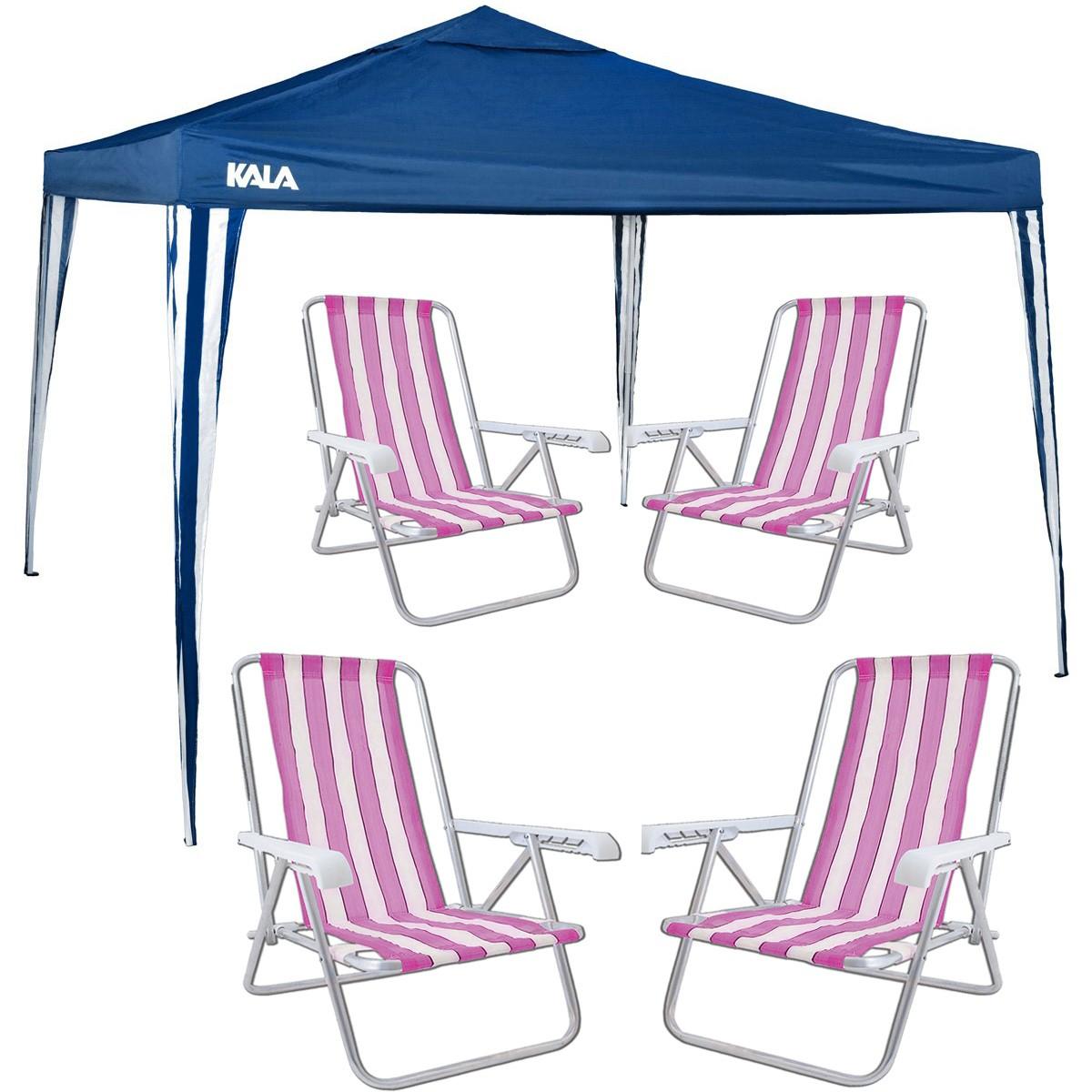 Kit Verão Gazebo Tenda 3x3 Articulado Com 4 Cadeiras Praia