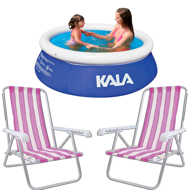 Kit Verão Piscina 1000 Litros Com 2 Cadeiras 5P Praia Kala
