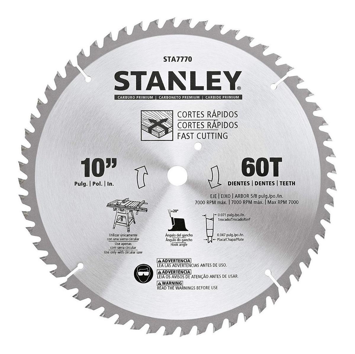 Lâmina de Serra Esquadria Madeira 10'' 60 Dentes Stanley