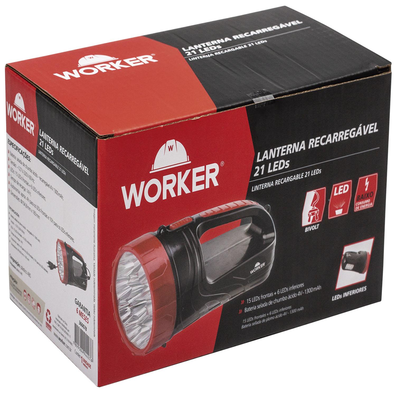 Lanterna 21 Leds Recarregável Bivolt 127/220V Worker