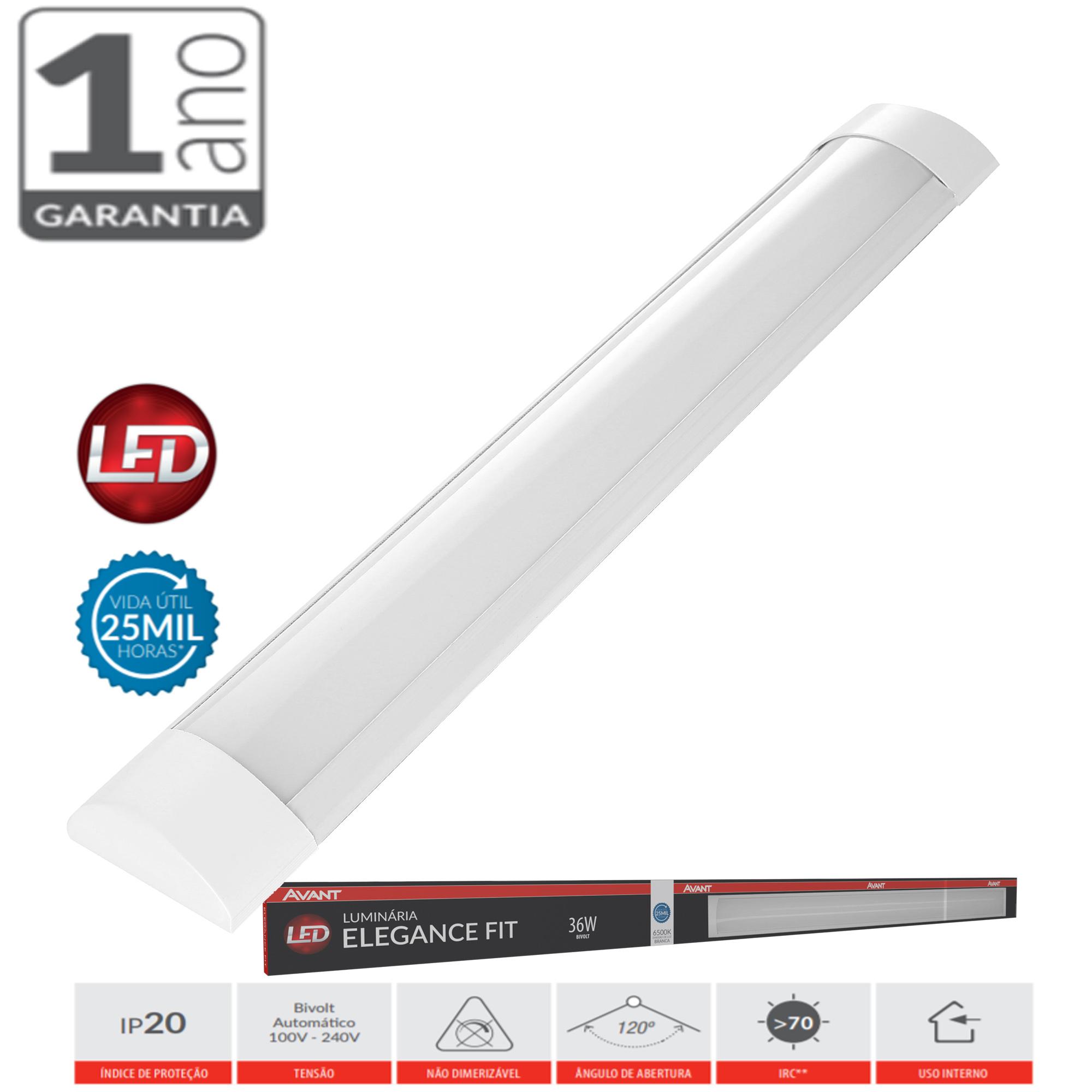 Luminaria Led Sobrepor Slim Linear Branco Frio 36w 100cm
