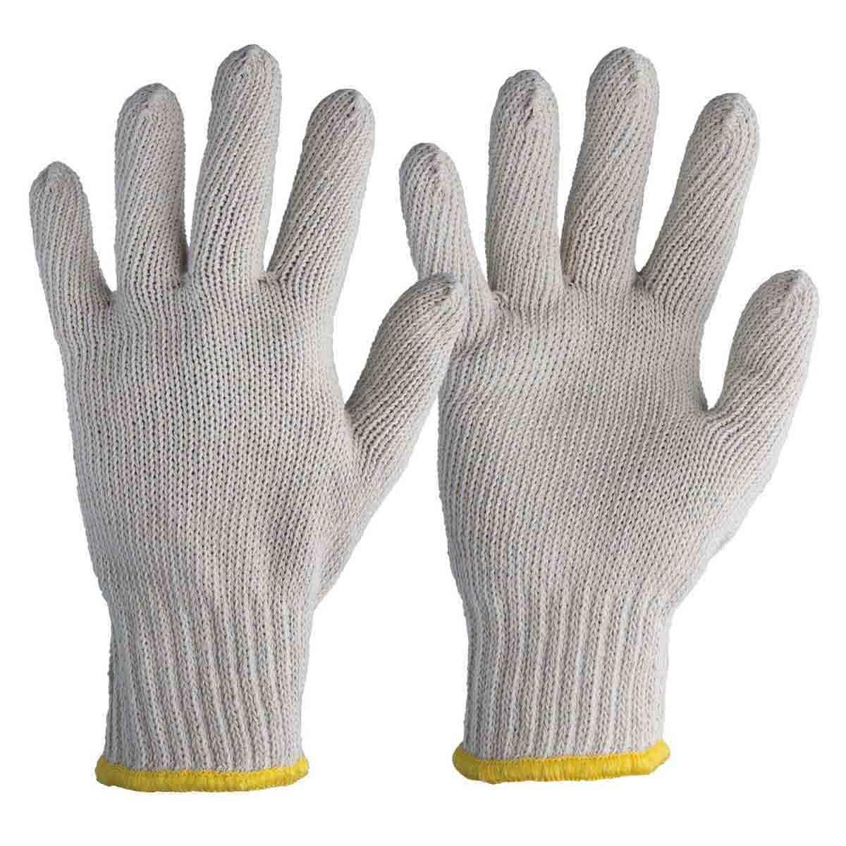 Luva Tricotada de Malha Branca 3 Fios Tamanho 9 (G) Worker