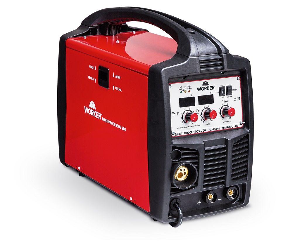Maquina Solda Multiprocessos Bivolt Tig/Mig/Eletrodo 200A Worker