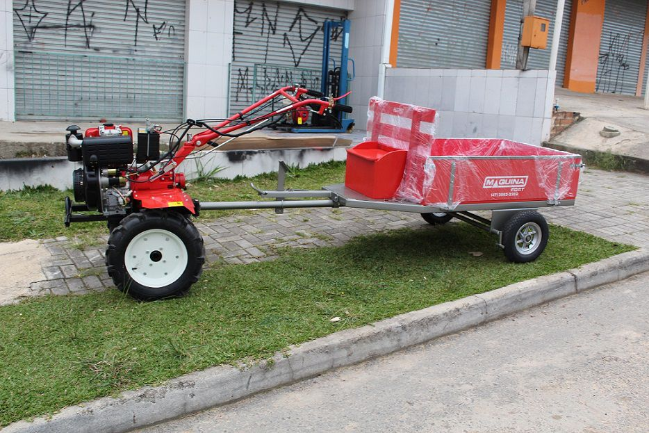 Motocultivador Diesel 10HP Partida Elétrica Com Carreta 250kg
