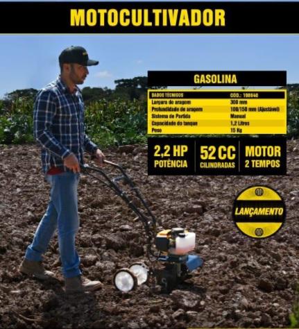 Motocultivador Enxada Rotativa Gasolina P Manual 52cc 2,2 Hp