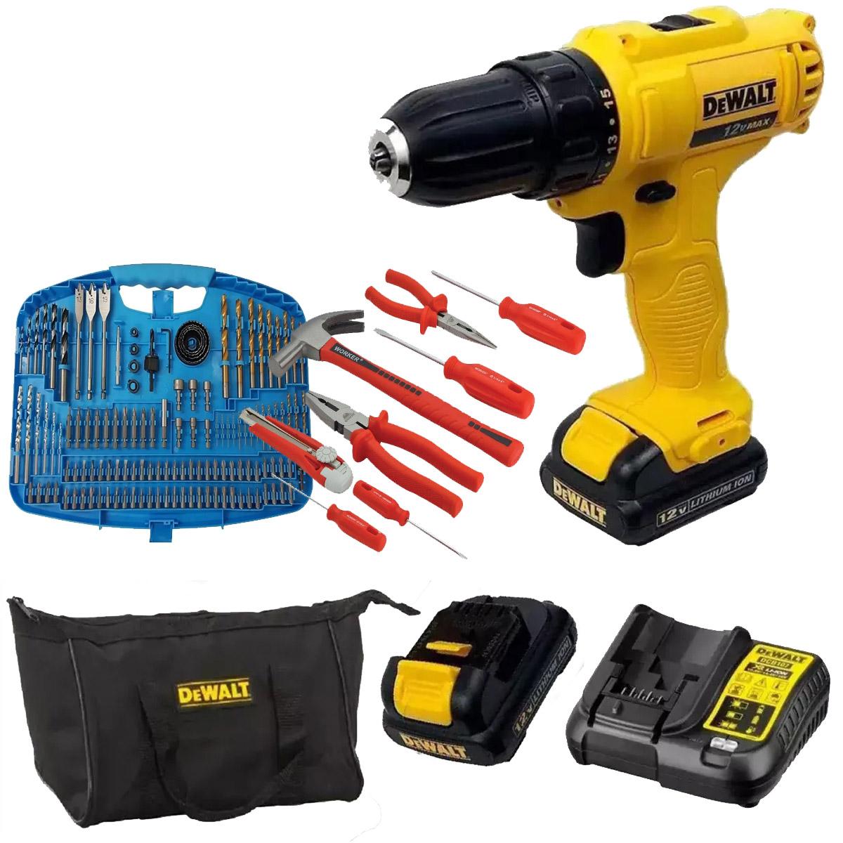 Parafusadeira 2 Baterias + Kit Ferramentas + Kit Brocas Gamma