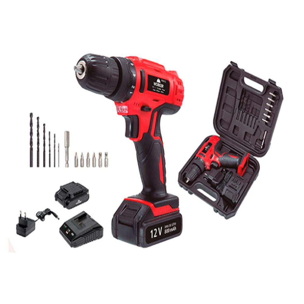 Parafusadeira Bateria 12V Worker + Kit Brocas Gamma