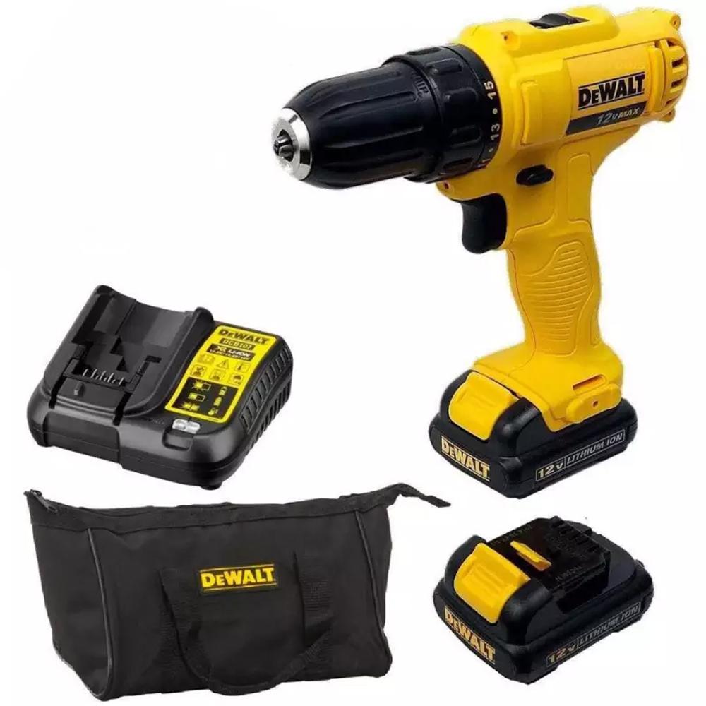 Parafusadeira Furadeira 2 Bateria Dewalt + Kit Brocas Gamma