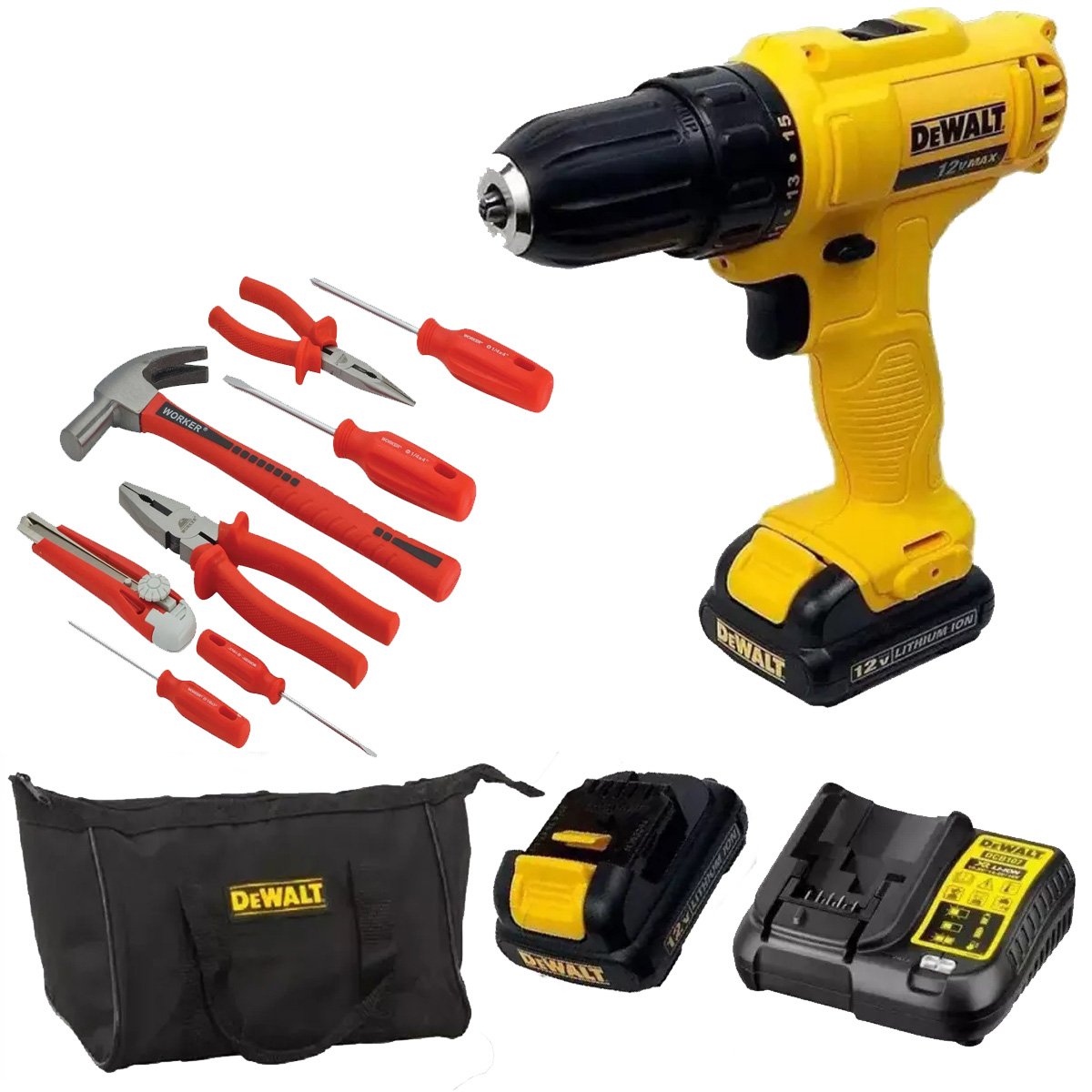 Parafusadeira Furadeira 2 Baterias Dewalt + Kit Ferramentas Worker