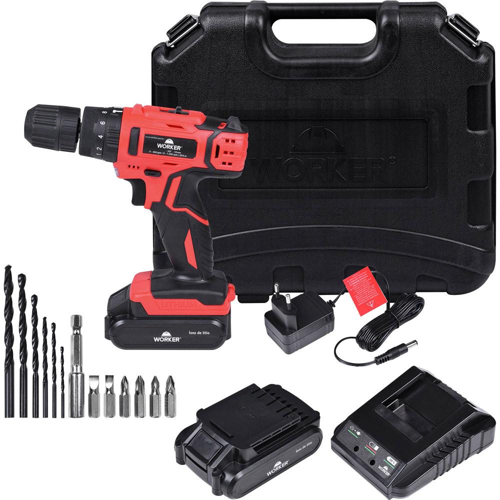 Parafusadeira/furadeira Impacto 18V Bateria 13 Peças Worker