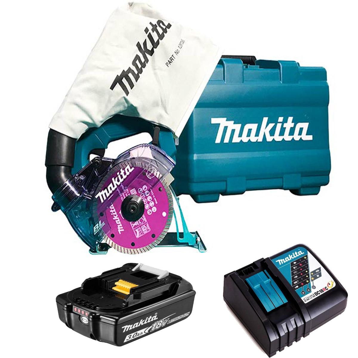 Serra Mármore 125mm + Carregador + Bateria + Maleta Makita