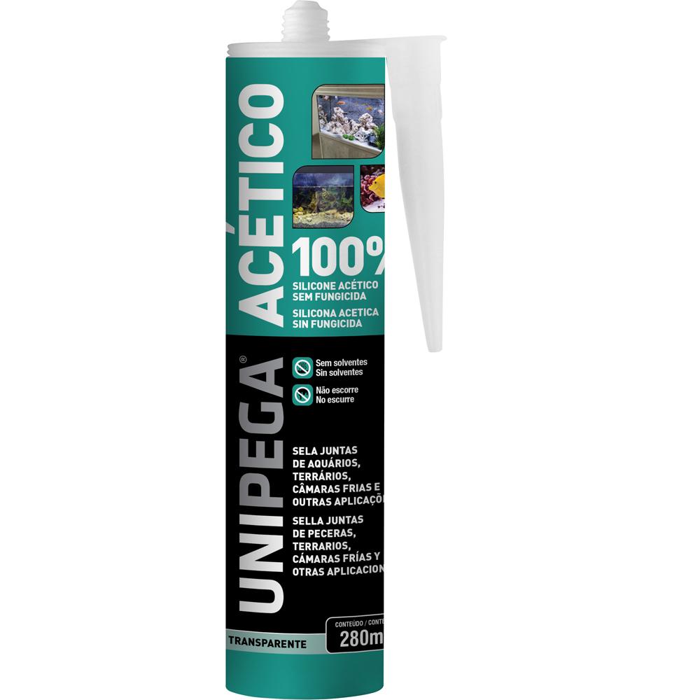 Silicone Aquário Acético100% Incolor Cartucho 280ML Unipega