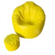 Puff Pera + Apoio De Pés Cheios Couro Sintético 8 unidades Cor: Amarelo