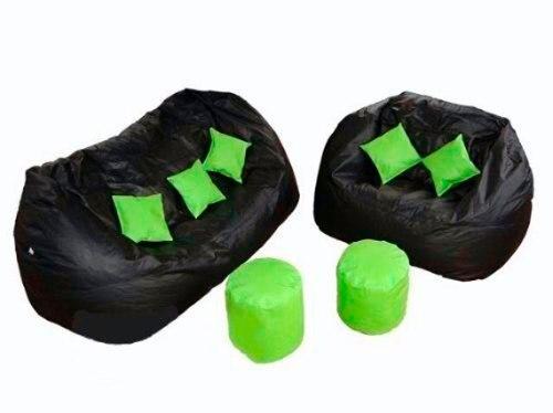 Puff Kit 9 Peças 1 Triplo 1 Duplo 05 Almofadas 2 Apoios Pés -Sem Enchimento-Vazio