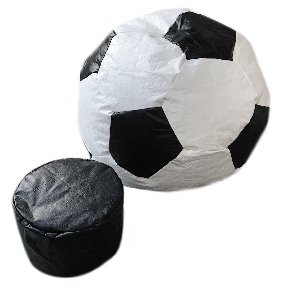 Puff Bola Futebol Cheio Adulto + Apoio Pés Cores Times Pufe