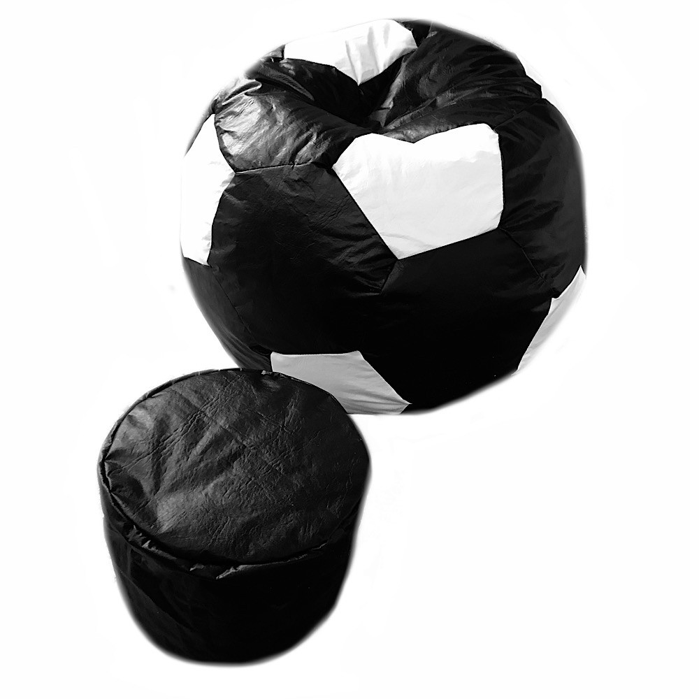 Puff Bola Futebol Grande `+ Apoio de Pés ( Vazio )  Sem Enchimento Com Ziper