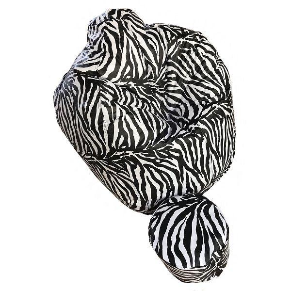 Puff Zebra + Apoio De Pés Enchimento Flocos Isopor Decoração
