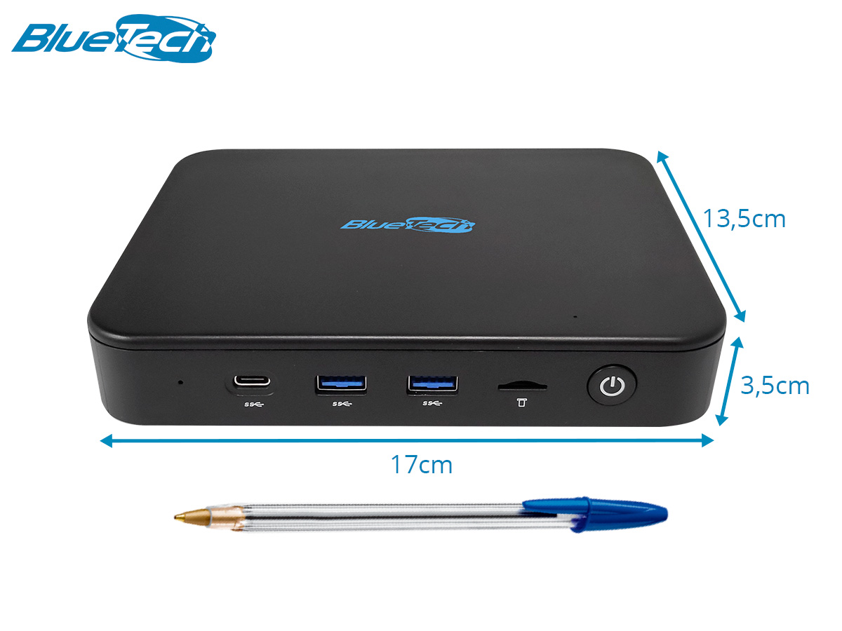 Mini PC Blue LV Plus 4100, Intel Quad Core, 4GB LPDDR4, eMMC 64GB, Wifi Dual Band AC, 1x VGA, 1x HDMI, 1x RJ-45 LAN Gigabit, Bluetooth, Win 10 IoT