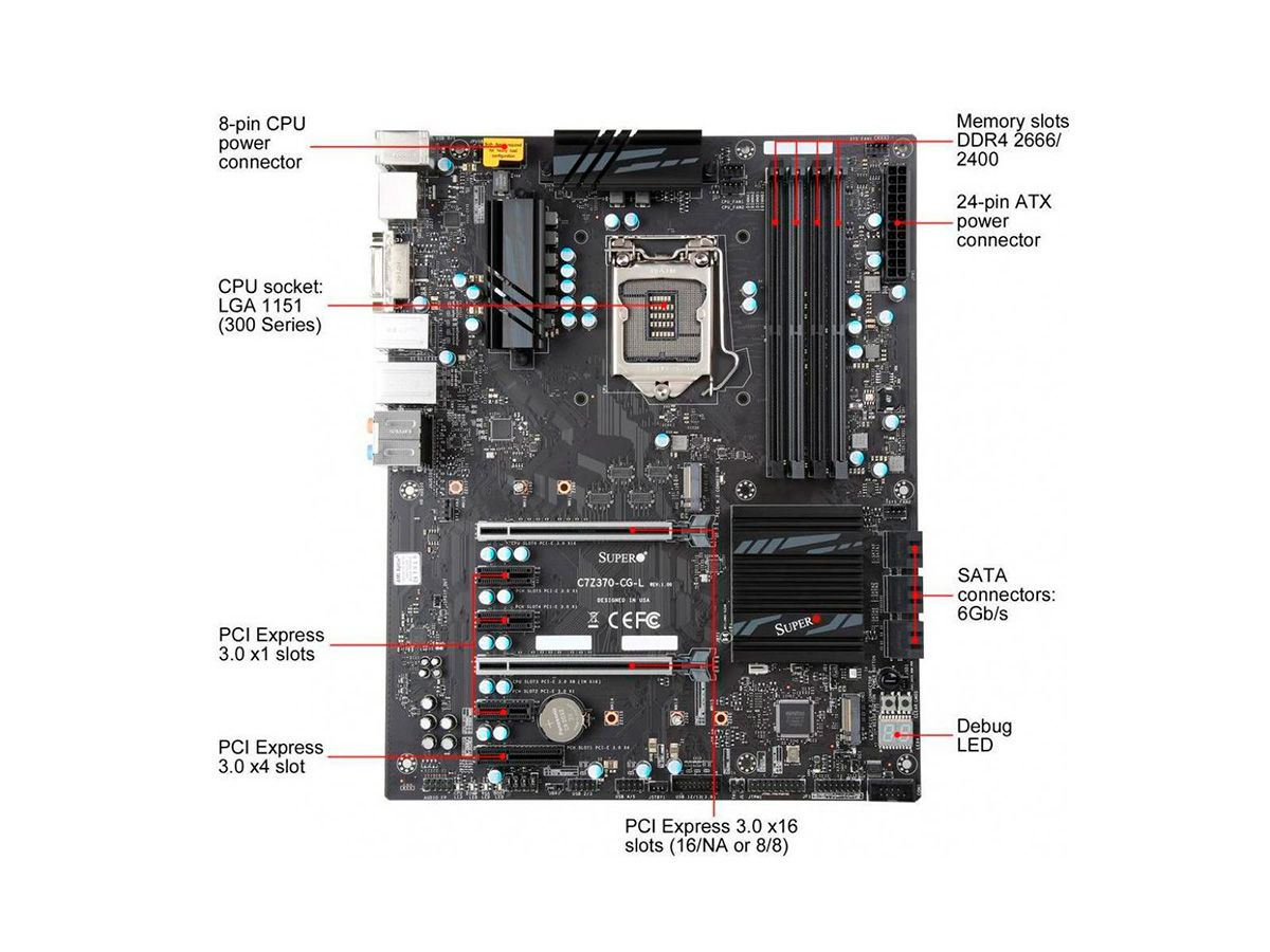 PLACA MAE SUPERMICRO Z370 ATX - INTEL 8A. GER (1151) - DDR4 - C7Z370-CG-L
