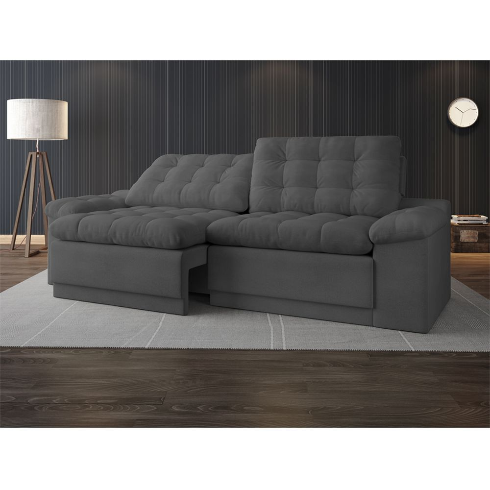 Sof reclin vel e retr til for Sofa 4 lugares reclinavel e assento retratil