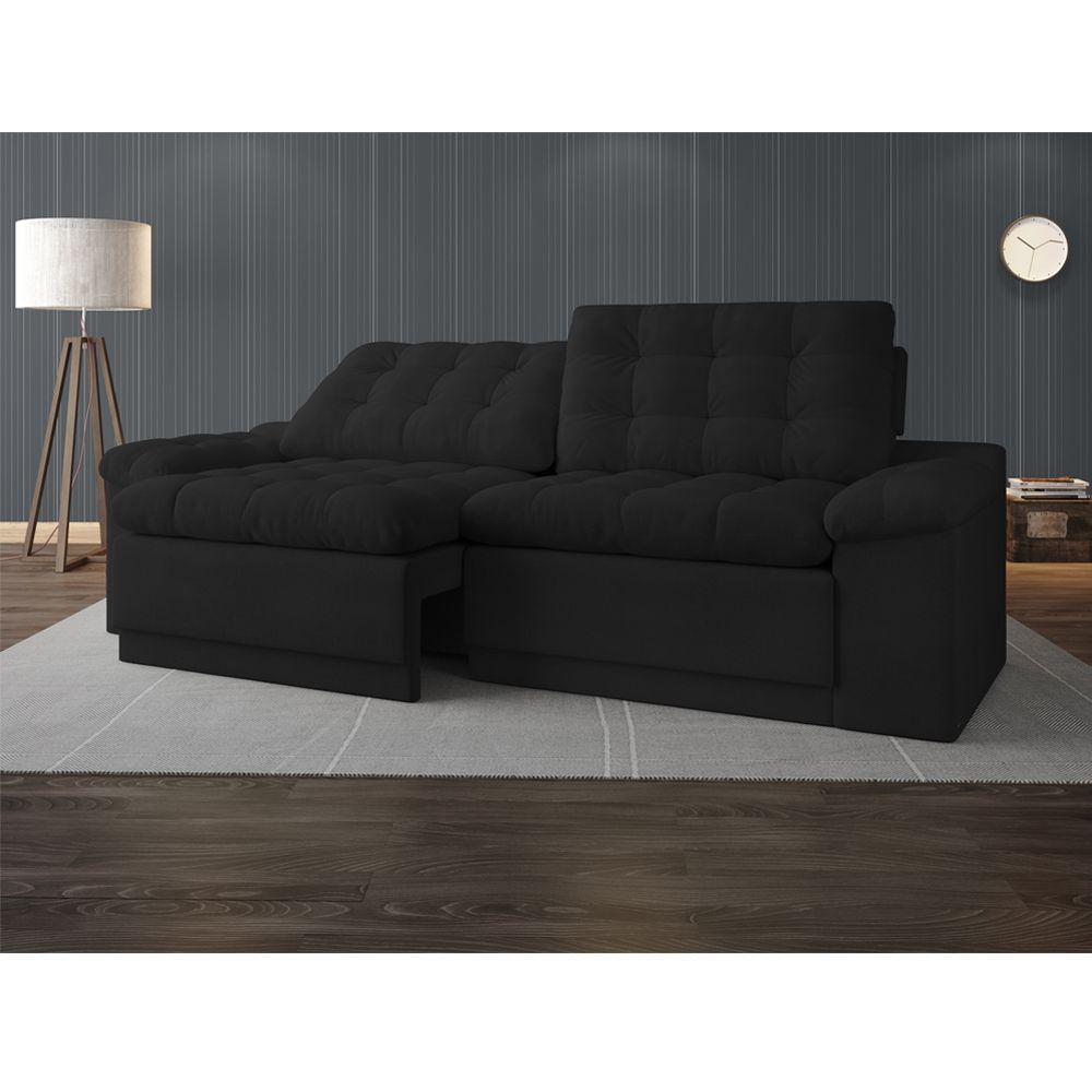 sof 4 lugares net confort assento retr til e reclin vel preto 2 20m l netsof s. Black Bedroom Furniture Sets. Home Design Ideas