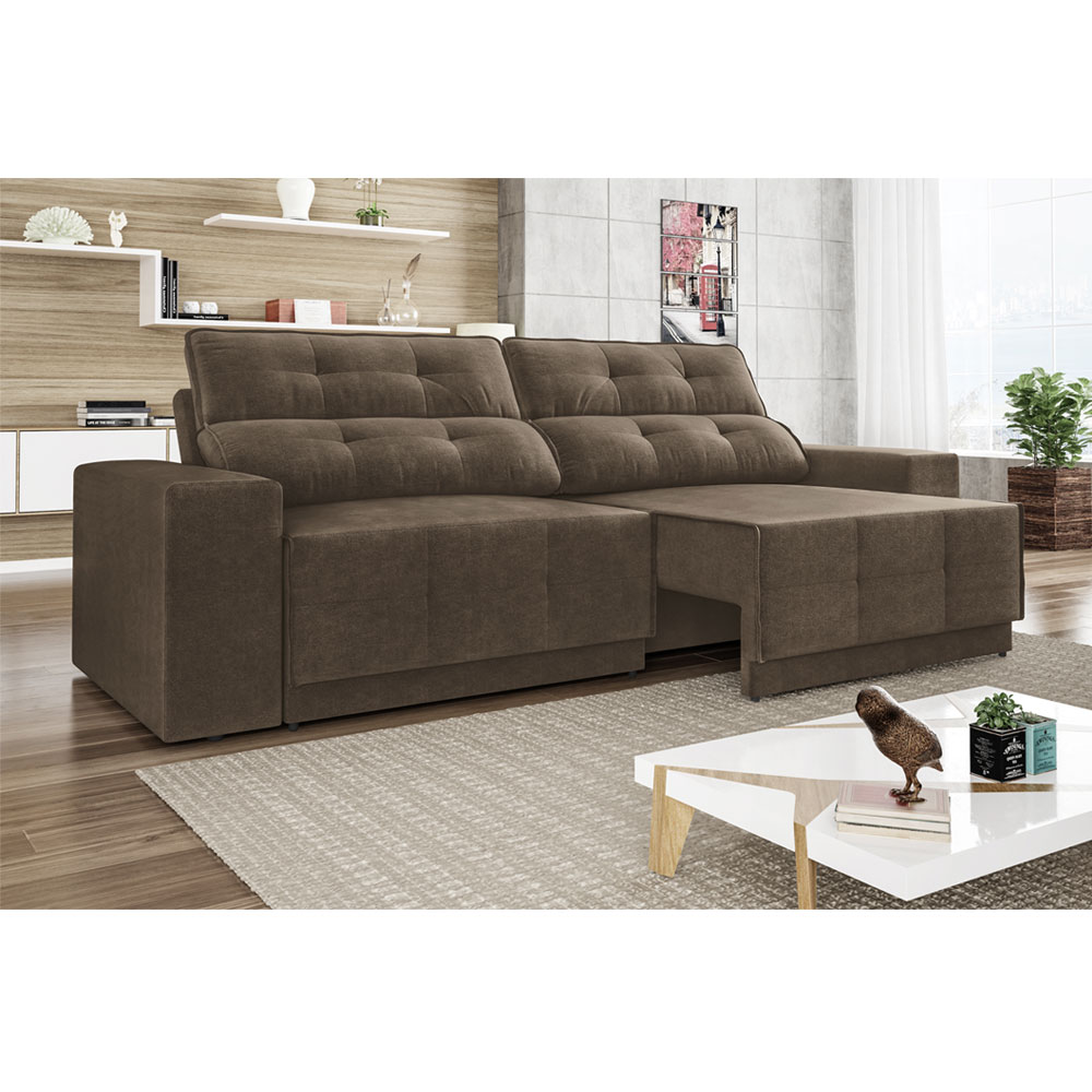 Sof reclin vel e retr til for Sofa 03 lugares retratil e reclinavel