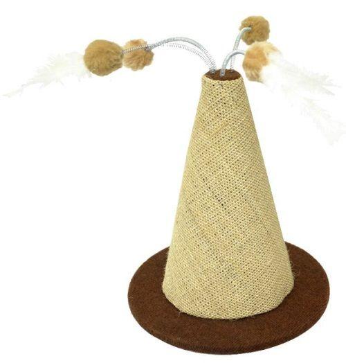 Cone com bolinhas de chocalho e penas
