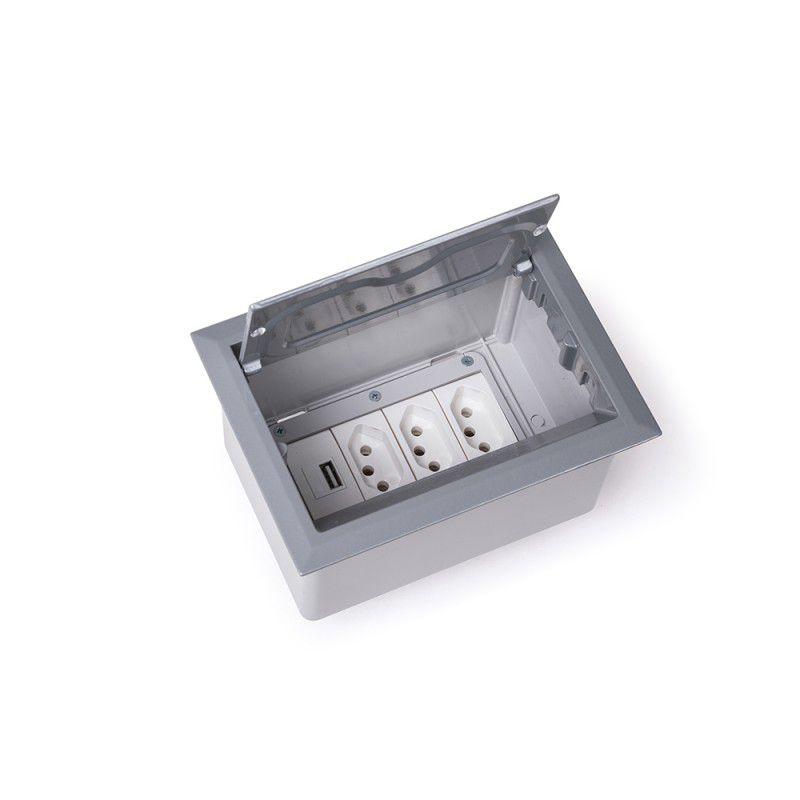 Caixa De Mesa 4 Blocos Alumínio Open Box (2 Elétricas + 2 Bloco p/ RJ-45 + 1 Bloco Cego)