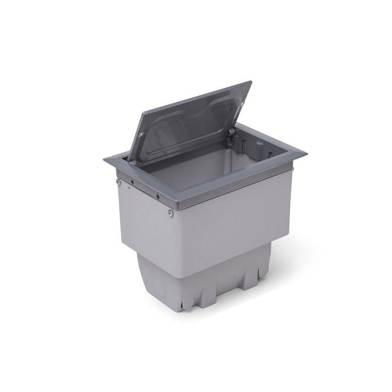 Caixa De Mesa 4 Blocos Alumínio Open Box (2 Elétricas + 1 Bloco p/ RJ-45 + 1 Bloco Cego)