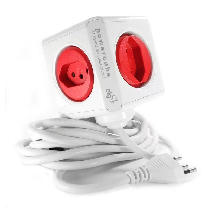 Multiplicador PowerCube  - 4 tomadas e 2 USB - Extensão 1,5 metros  - PWC-X5