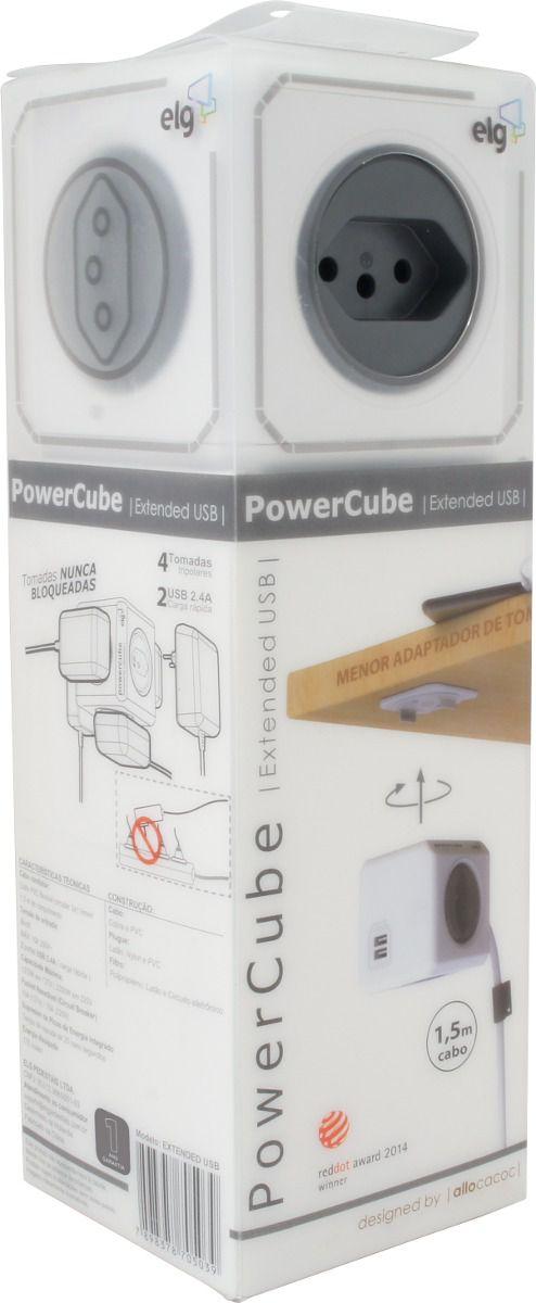 Multiplicador PowerCube  4 tomadas e 2 USB  - PWC-X4U
